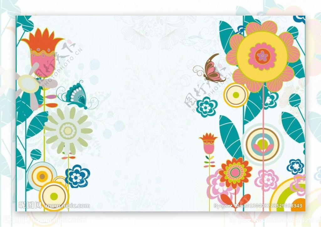 可爱花纹花朵蝴蝶图片
