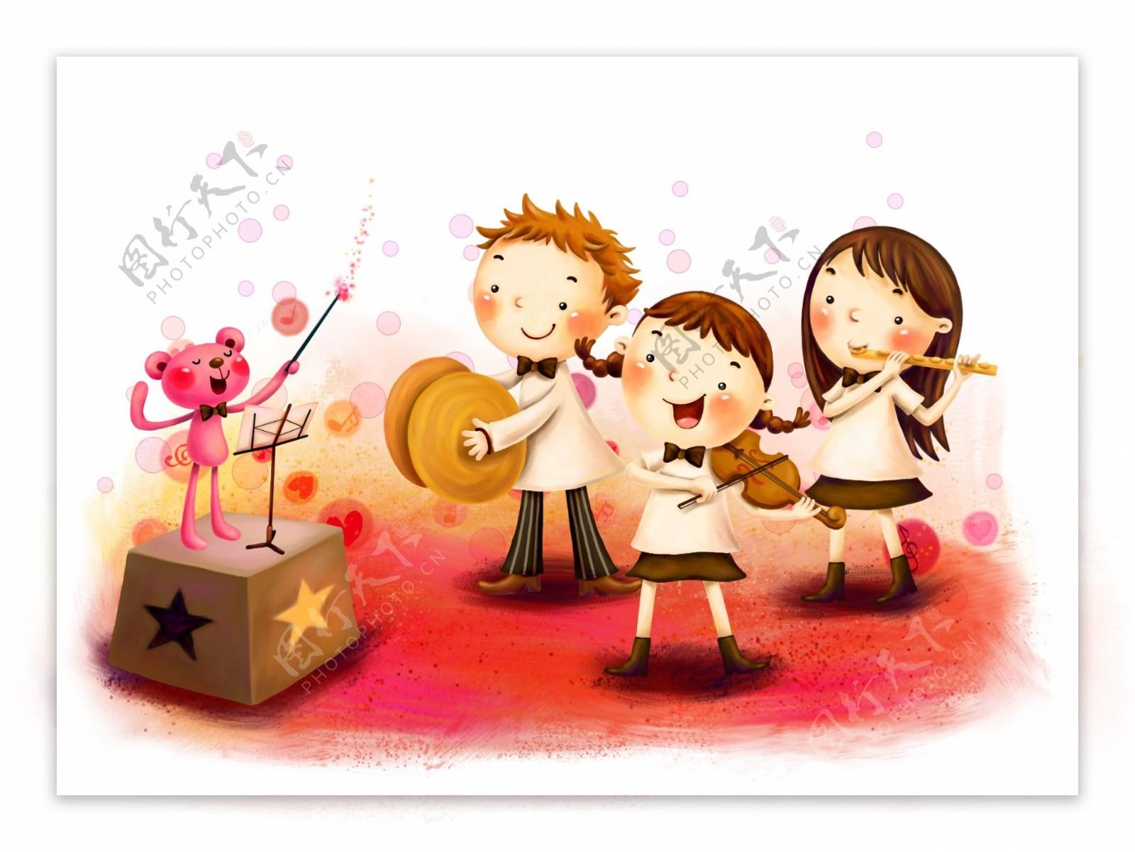儿童演奏乐器图片