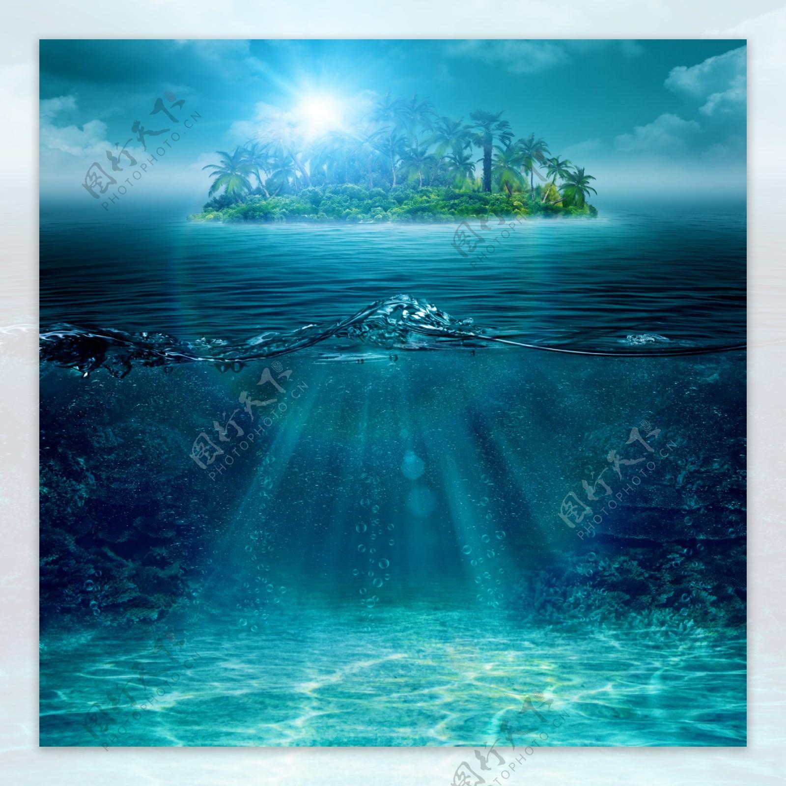 海底深处与海面图片