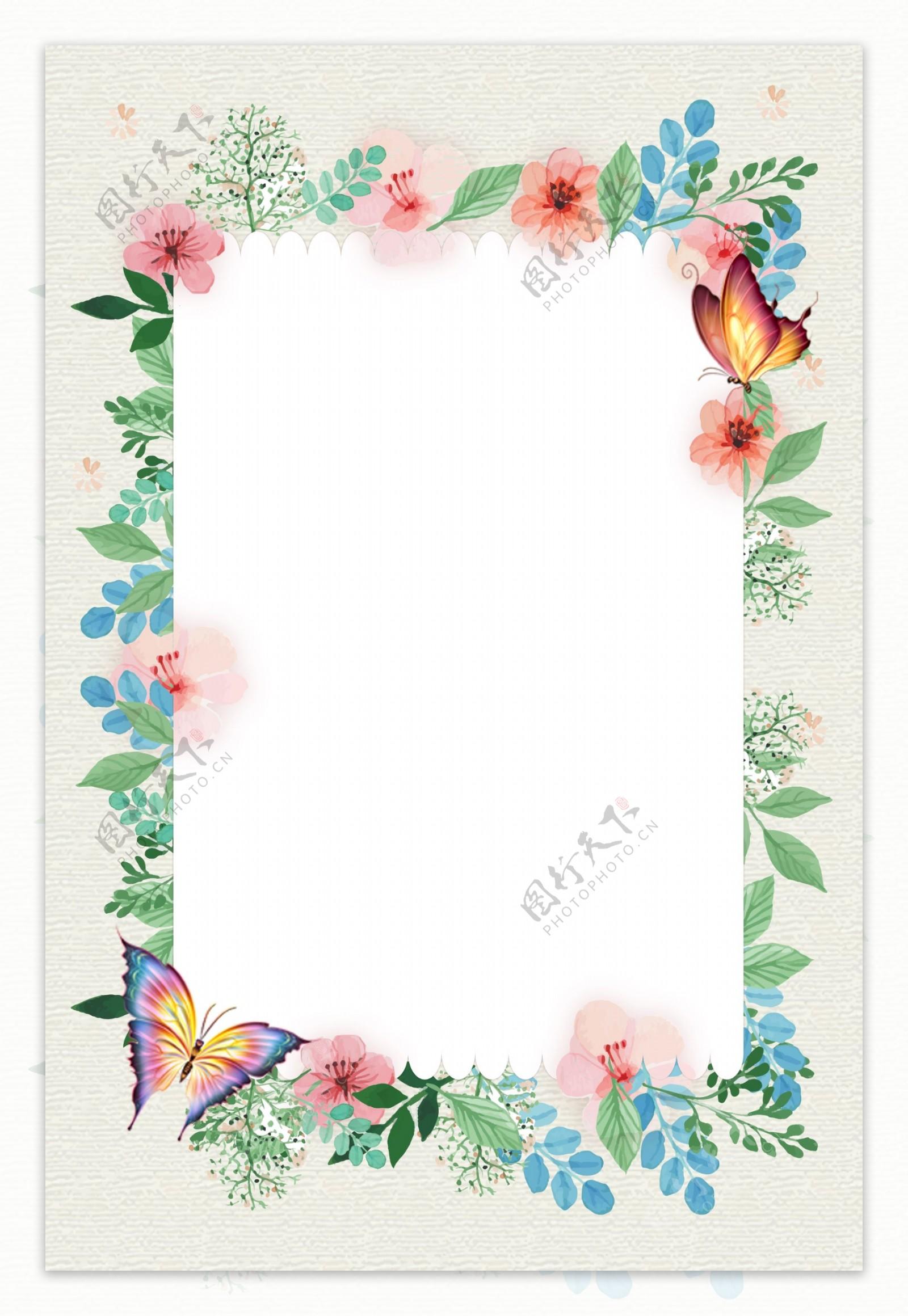 简约植物花朵蝴蝶海报